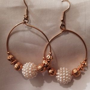 Avon Gold and Pearl Hoop Earrings